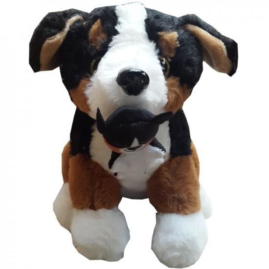 Peluche doudou chien de couleurs noir et marron hauteur 23 cm
