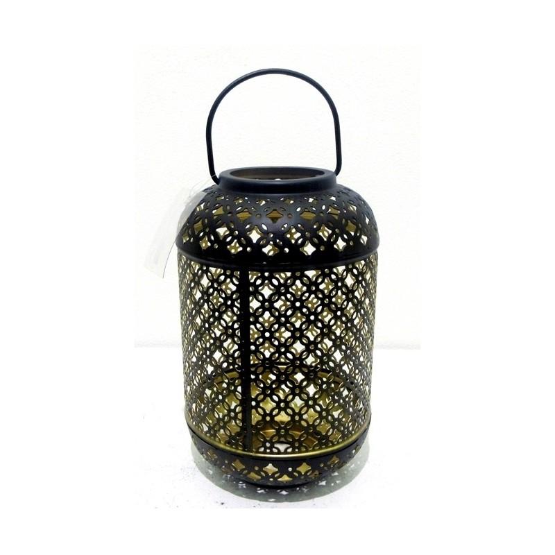 Lanterne en métal couleurs noir et or 16x16x25,50cm