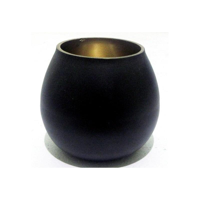 Photophore en métal couleurs noir et or 7x7x6cm