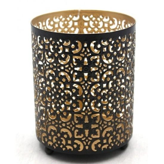 Photophore votif en métal couleurs noir et or 12,5x12,5x16,5cm