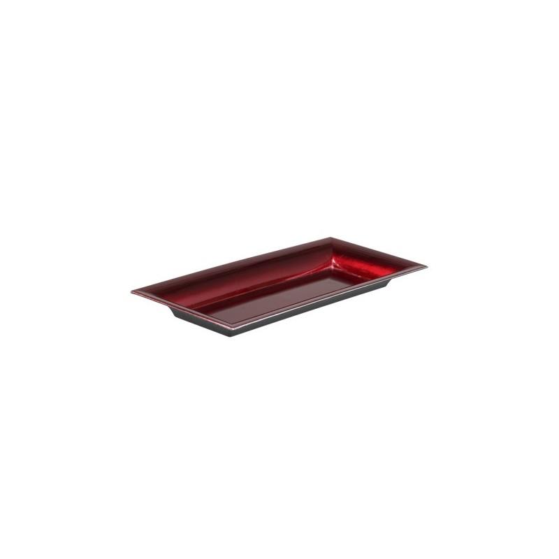 Plateau plastique rectangle Rouge brillant 28x12cm