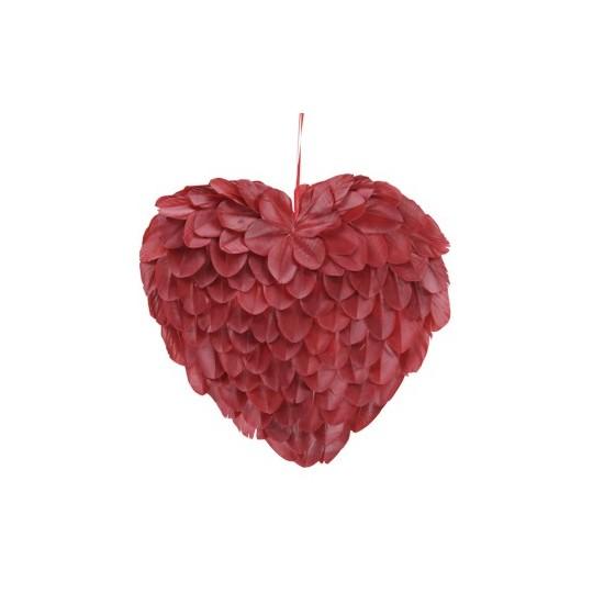 Coeur en plume de couleur rouge H31cm