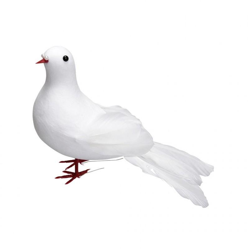 Colombe blanche avec plume 16 cm xH 9,5cm_