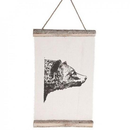 Bannière en lin avec impression ours de couleur noir 33x4,5x53cm