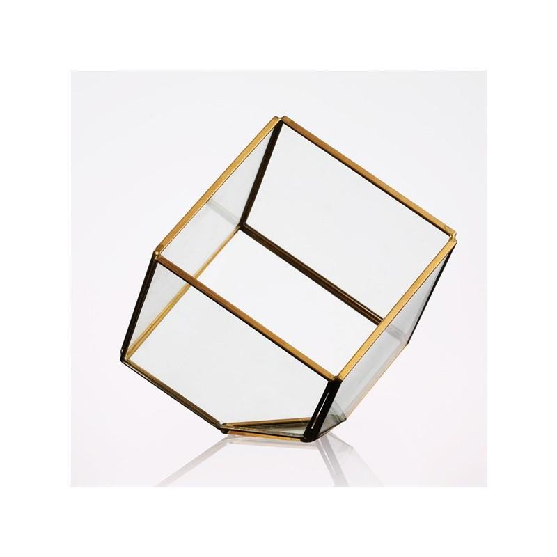 Boite a trésor cube renversé en verre 12x12x12cm