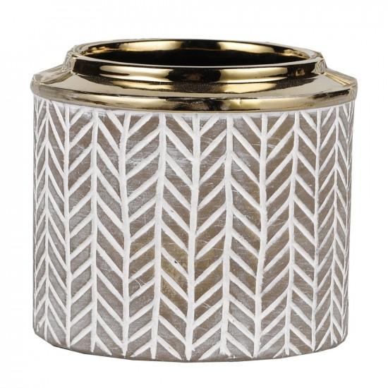 Cache pot avec motifs gris et bordure couleur or 15,5x15,5x13,5cm