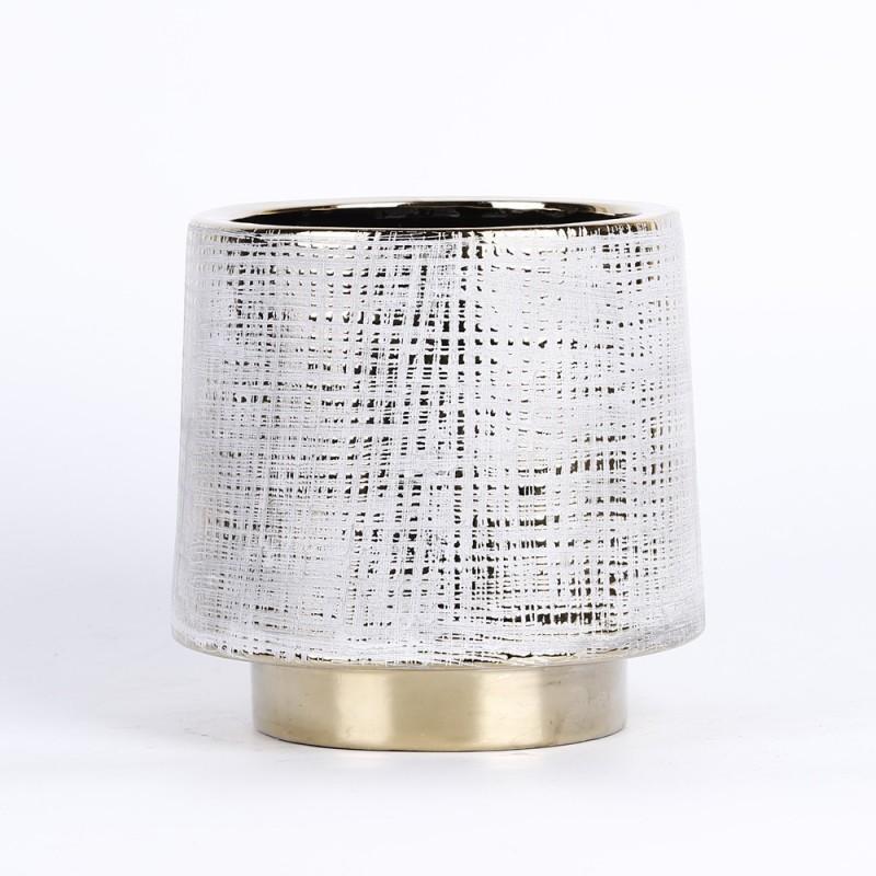 Cache pot avec motif couleur blanc et bordure couleur or 14,5x14,5x14cm