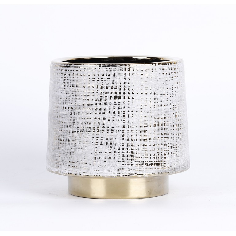 Cache pot avec motif couleur blanc et bordure couleur or 16,5x16,5x16cm