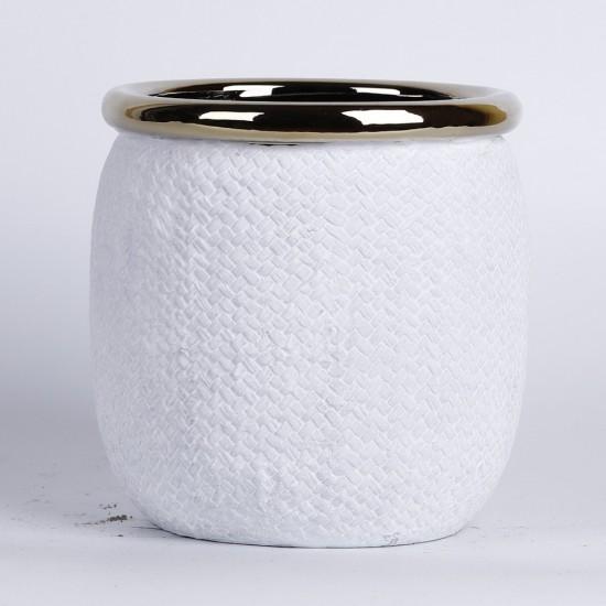 Cache pot blanc mat avec rebord couleur or Ø14,5cm H15cm