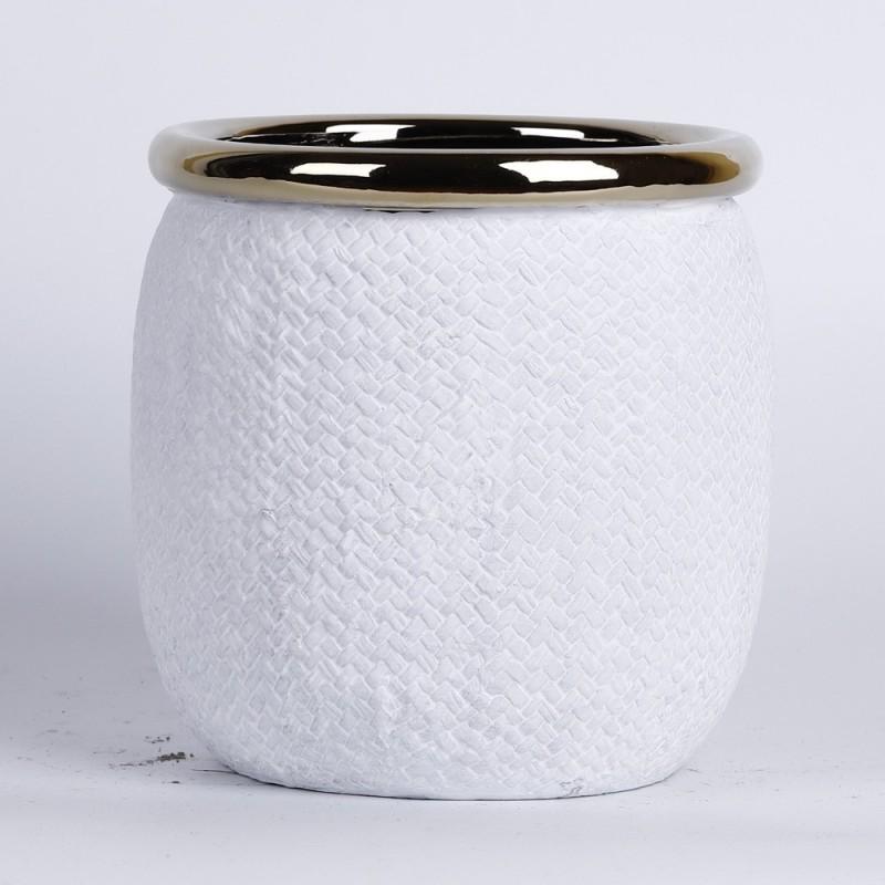 Cache pot blanc mat avec rebord couleur or Ø18,5cm H19,5cm