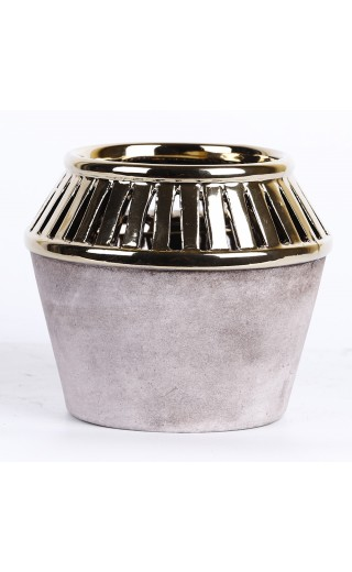 Cache pot couleurs gris et or 14x14x12cm
