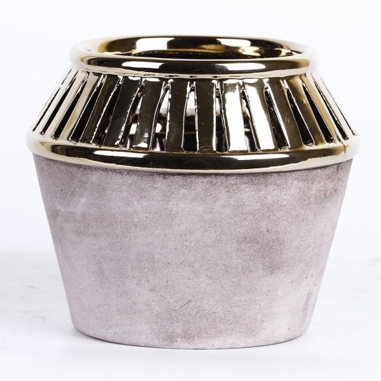 Cache pot couleurs gris et or 14x14x12cm