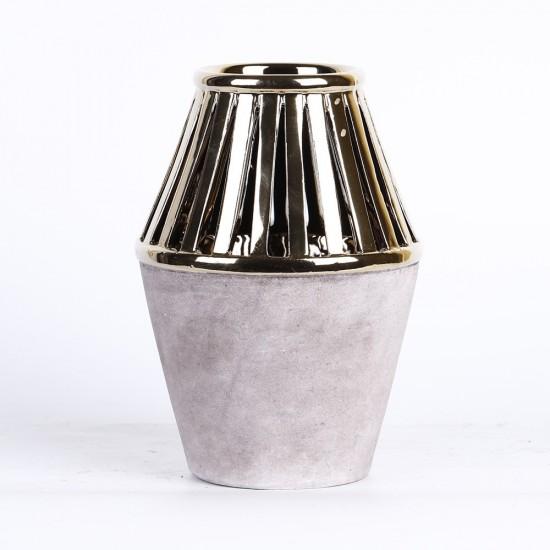 Vase couleurs gris et or 16x16x23,5cm