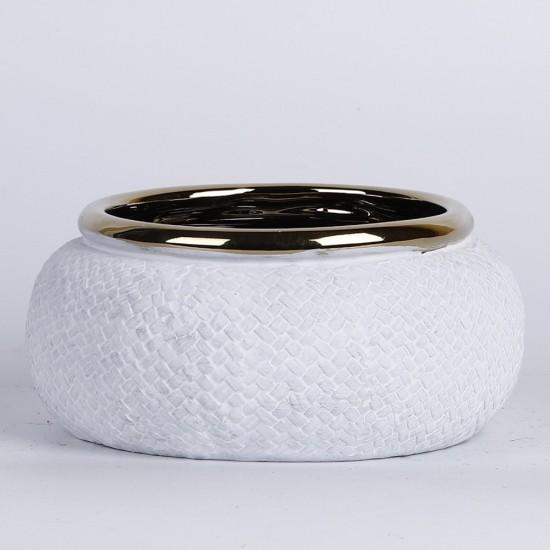 Coupe blanche mat avec rebord couleur or Ø16cm H7,5cm