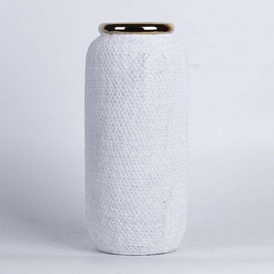 Vase blanc mat avec rebord couleur or Ø12cm H24cm