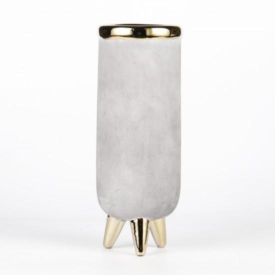 Vase sur pieds couleurs gris et or Ø11cm H28,5cm
