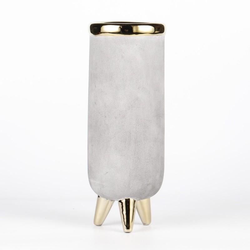 Vase sur pieds couleurs gris et or Ø9,3cm H25,5cm