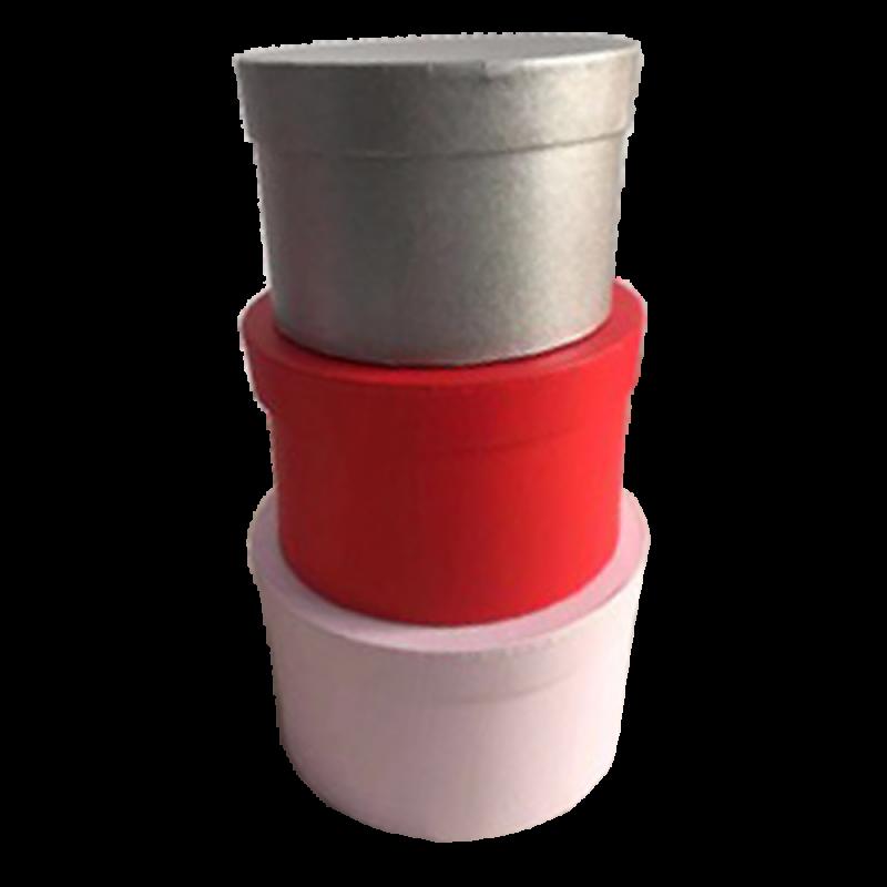 Boîte à chapeaux set de 3 modèles rond rose/rouge/gris 22x22x13cm/19x19x12cm/17x17x11cm