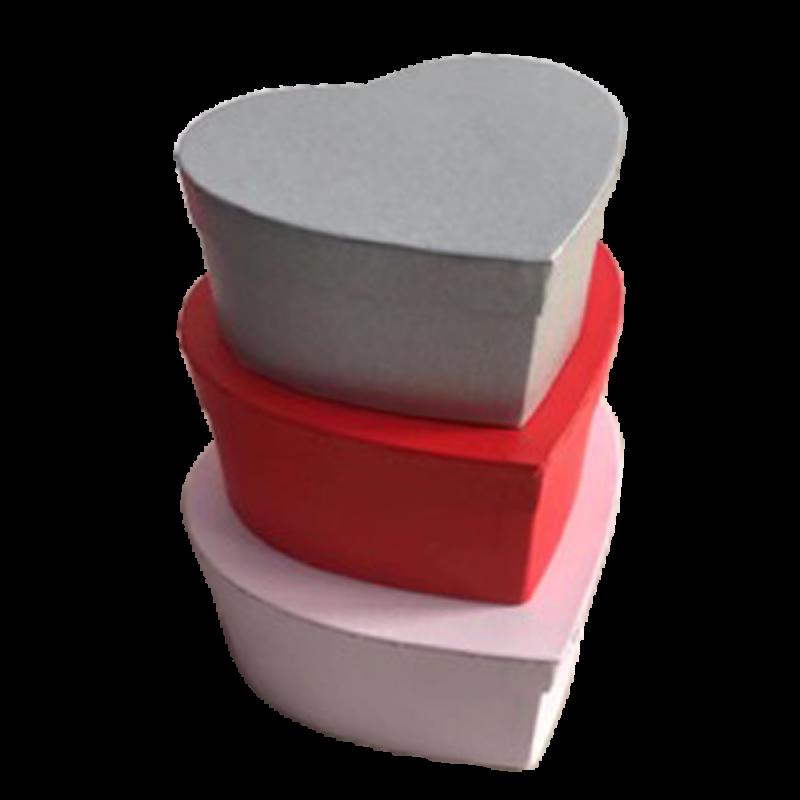 Set de 3 boîtes coeur rose, rouge et gris
