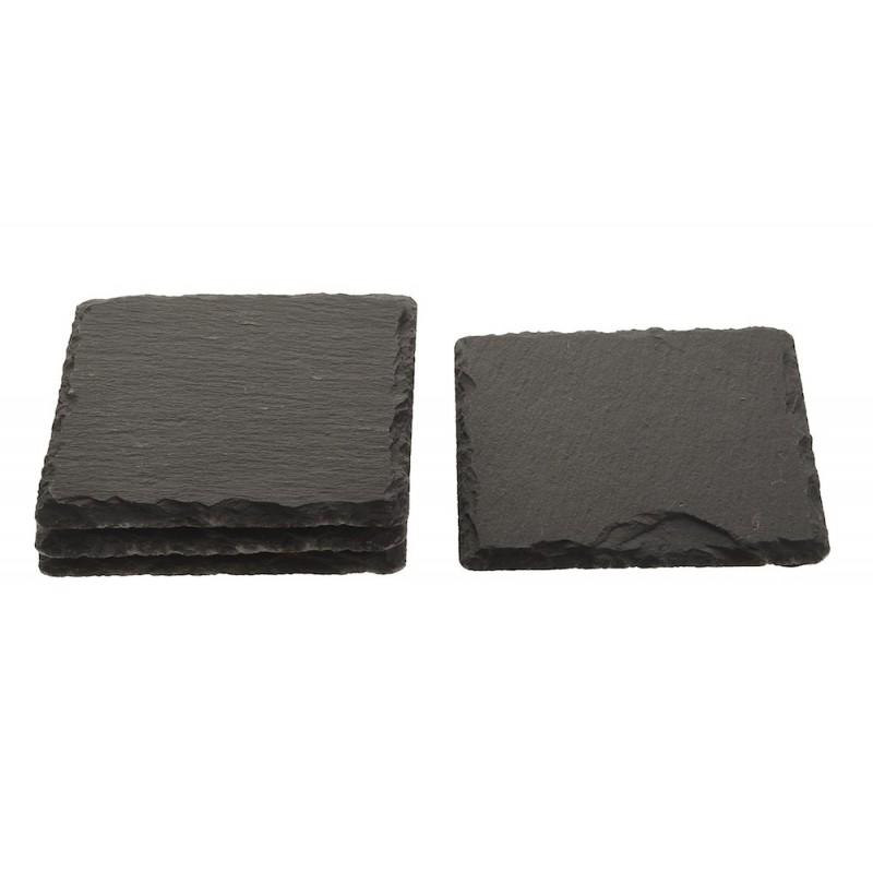 Plateau pierre grise façon ardoise carrée 10x10 cm par lot de 4