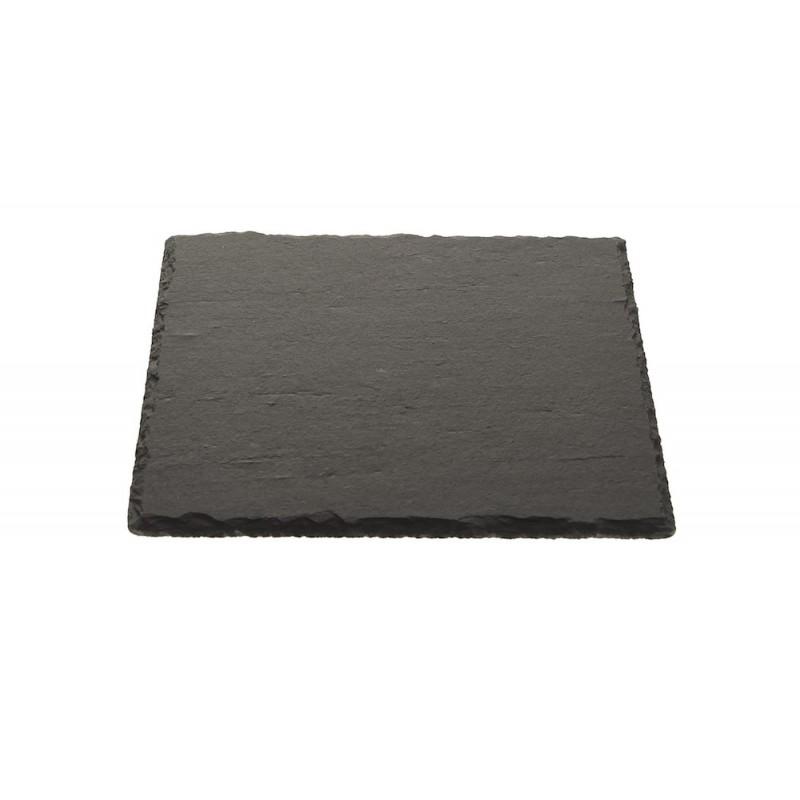PLATEAU EN PIERRE GRISE FACON ARDOISE 30x30cm