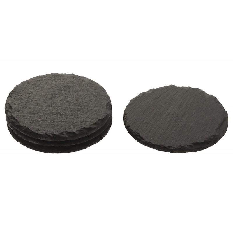 Plateau pierre gris façon ardoise rond par 4 unités ø10 cm
