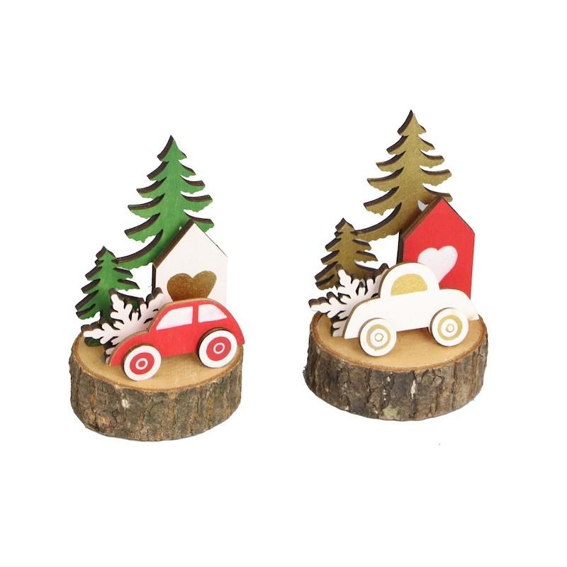 Lot de 2 voiture de Noël sur rondin de bois 6,5 cm x H11 cm
