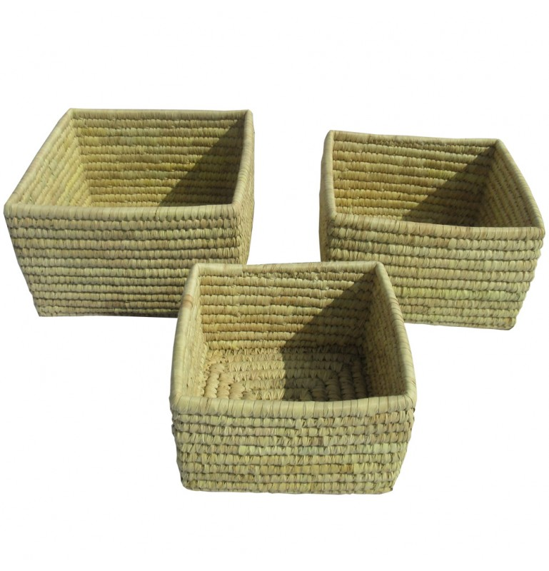 CORBEILLE VANNERIE CARRE_NATUREL_LOT DE 3_26X26X16-23X23X14-20X20X12CM