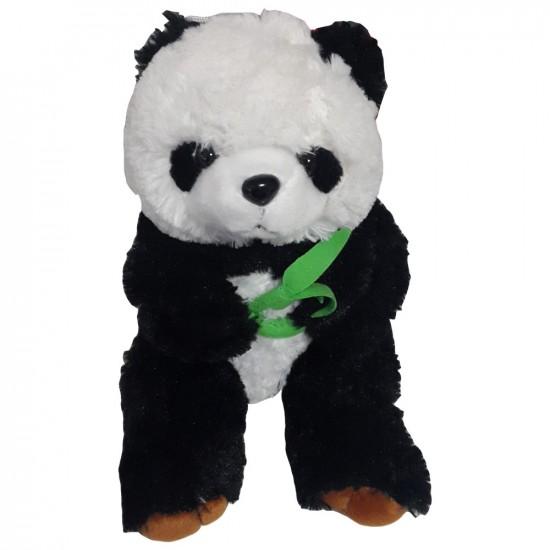Peluche doudou panda de couleurs noir et blanc avec bambou H25cm