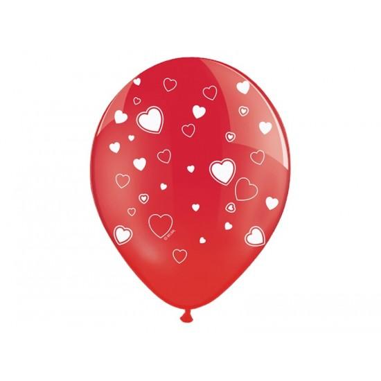 Ballon de couleur rouge avec motif coeur couleur blanc Ø30cm x6pièces