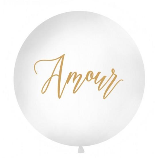 """Ballon géant de couleur blanc avec inscription """"Amour"""" Ø100cm"""
