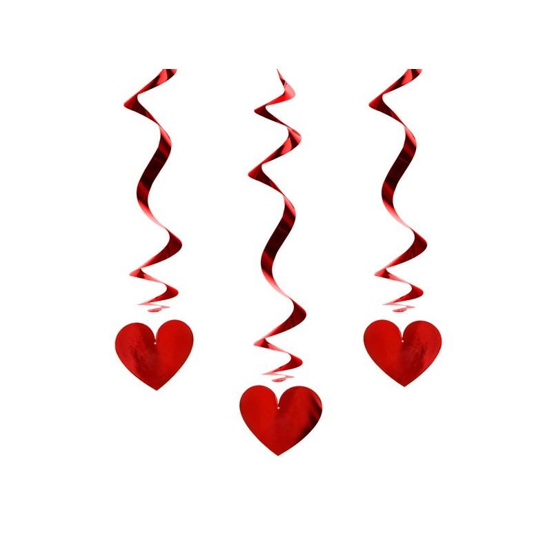 Décoration tourbillon avec coeur couleur rouge H60cm x3pièces