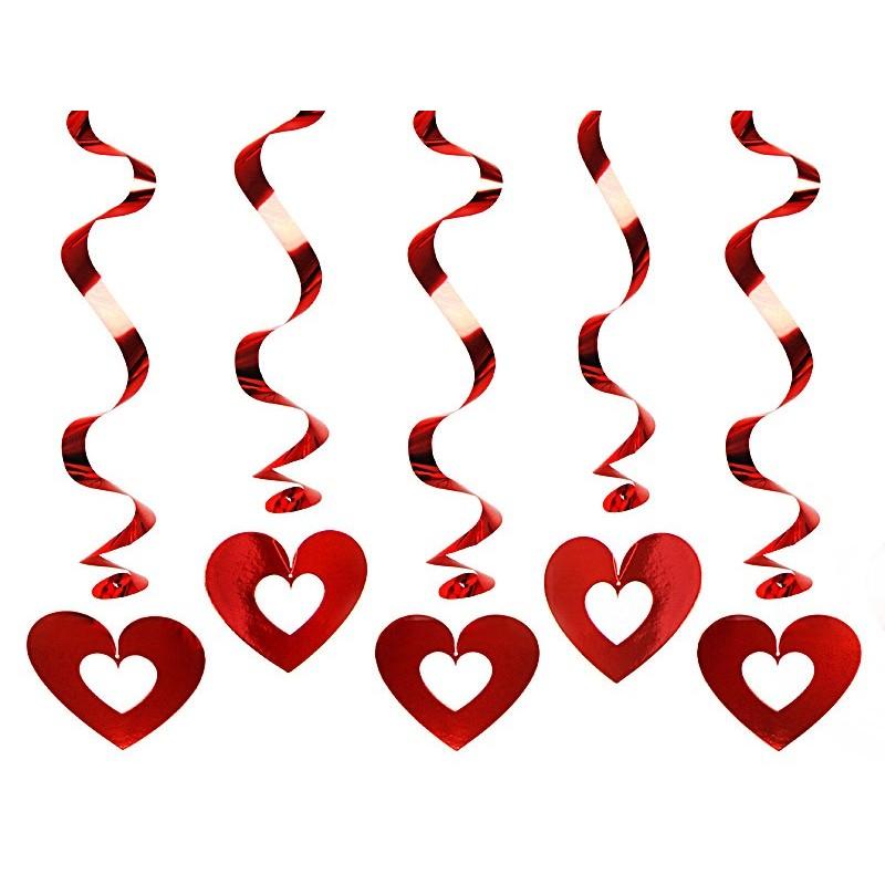 Décoration tourbillon avec coeur ouvert couleur rouge H60cm x5pièces