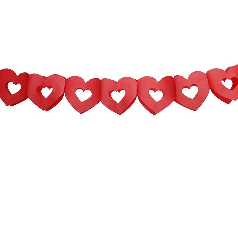 Guirlande de coeur couleur rouge 3 m x1pcs