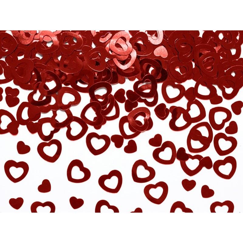 Confetti métallique en forme de coeur couleur rouge 15g