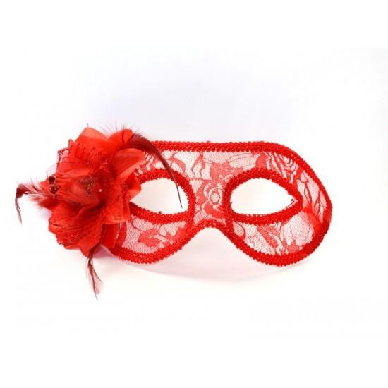 Masque loup couleur rouge avec fleur