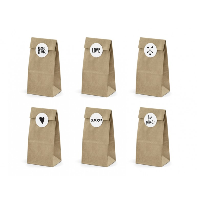 "Sachet kraft avec stickers ""Love"" x6pcs"