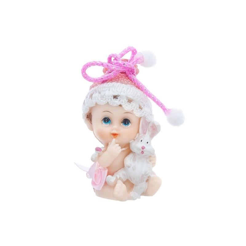Figune bébé fille avec lapin 6 cm