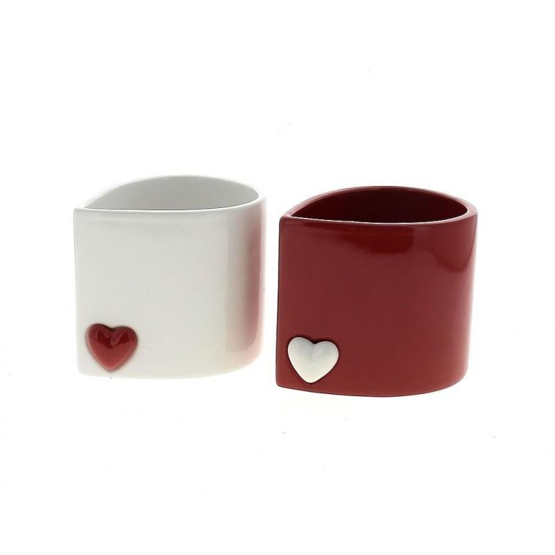 Pot coeur rouge et blanc ø 12,5x10xH11 cm