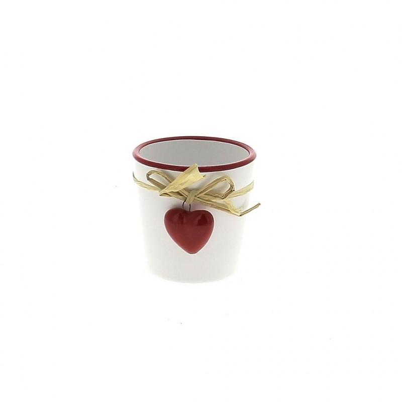 Pot blanc coeur rouge ø6,8 cm H6,8 cm