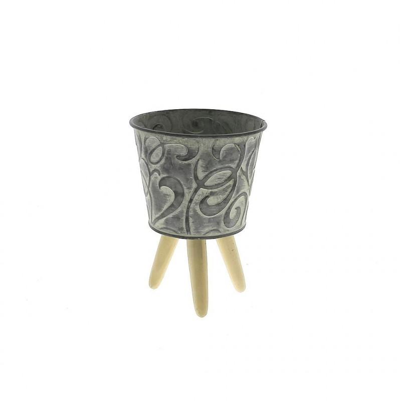 Pot en métal avec Pied en bois ø7,5cm H6,5/10,5cm