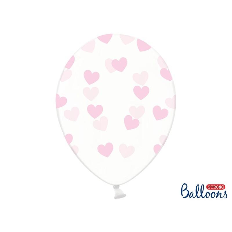 Ballon transparent coeur rose 30 cm lot de 6 pièces