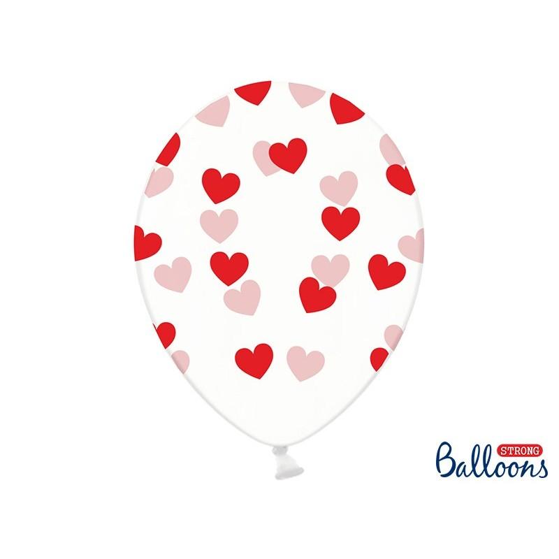 Ballon transparent coeur rouge 30 cm lot de 6 pièces