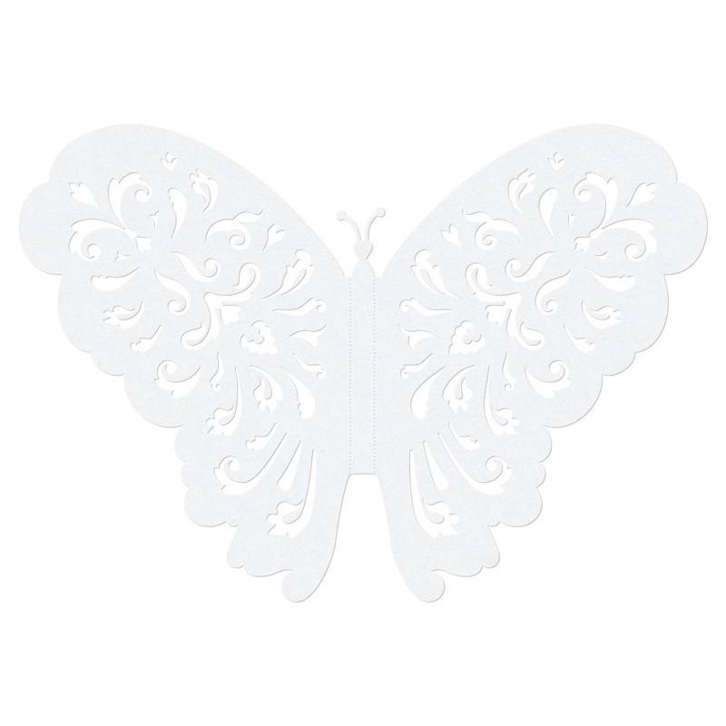 Papillon dentelle : décoration papier 14cm par 10 pièces