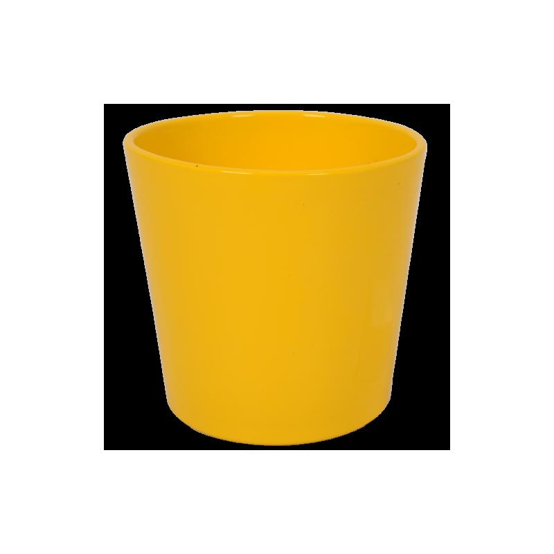 Cache pot orchidée 1er prix coloris jaune ø13 cm H12 cm