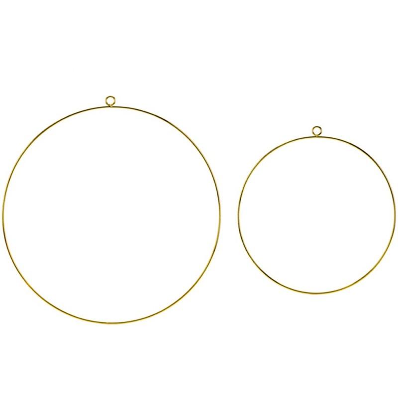 Anneaux en métal Or ø20 et 28cm  2 pièces