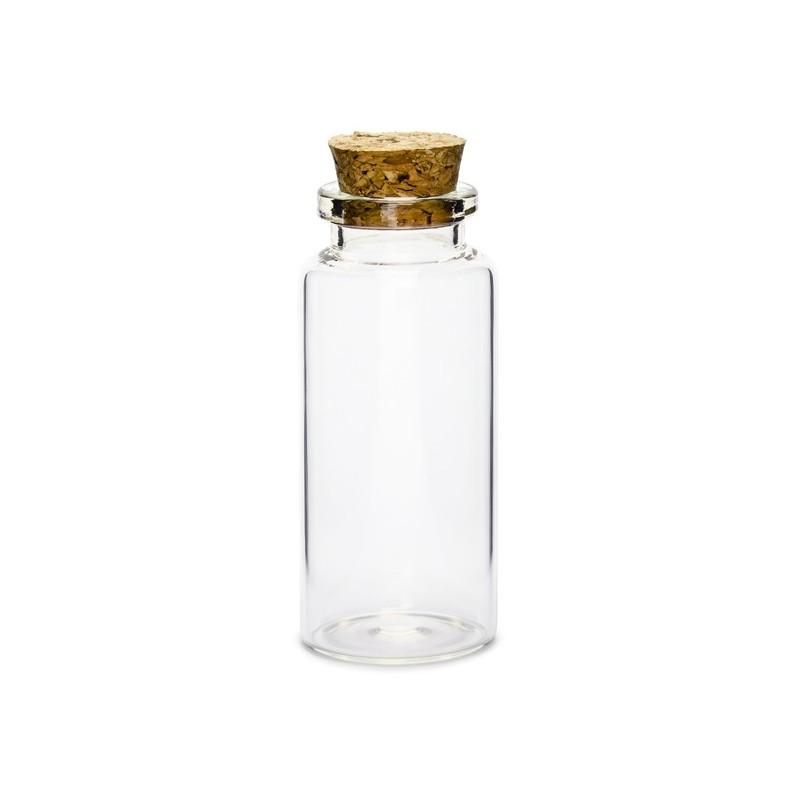 Bouteille en verre avec bouchon de liège x12pcs H7,5cm ø3cm Transparent