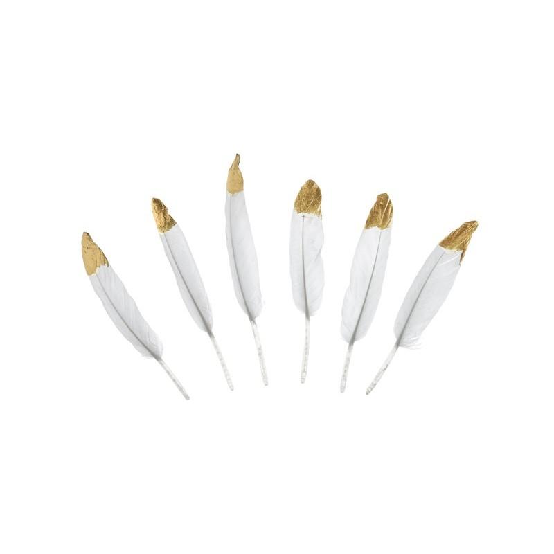 Sachet de 6 plumes décoratives en blanc et or