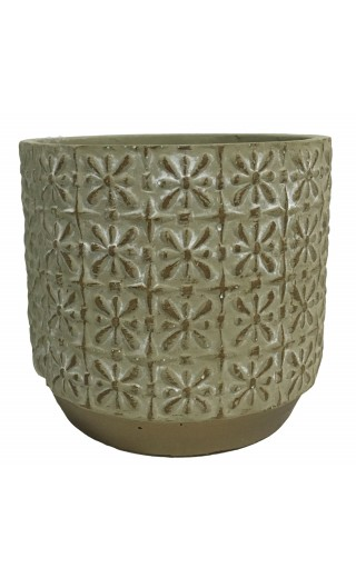 Cache pot en ciment avec motif arabesque 14x14x13cm