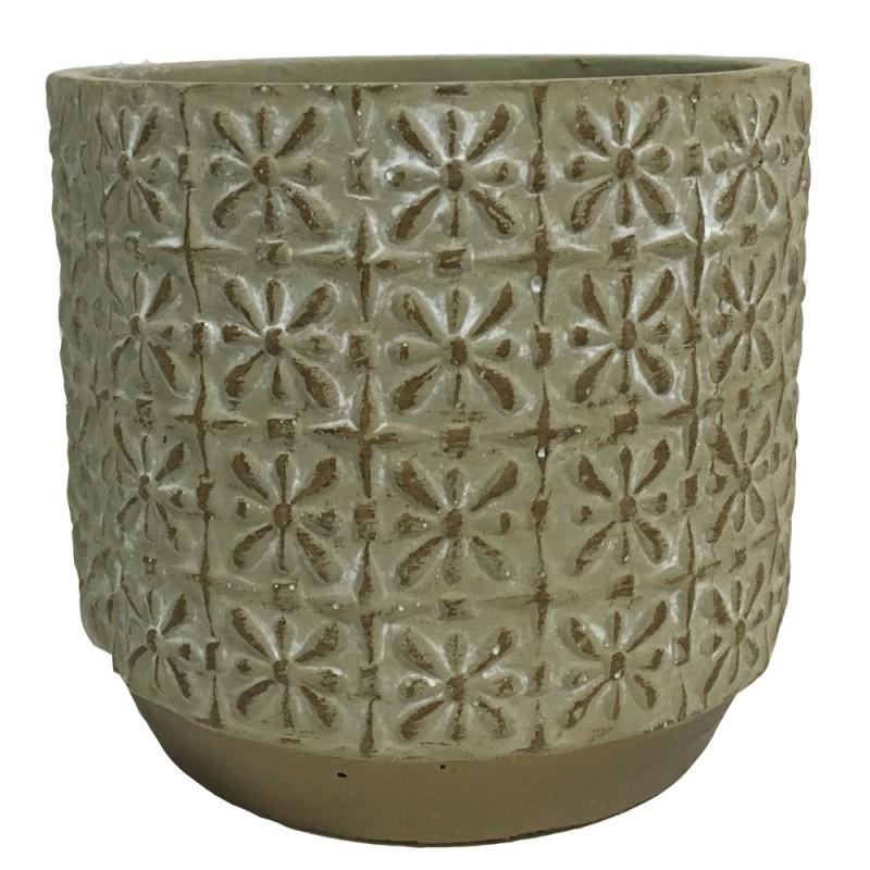 Cache pot en ciment avec motif arabesque 14x14x13cm